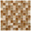 """EliteTile Sierra 0.875"""" x 0.875"""" Glass and Natural Stone Mosaic Tile in Amber"""