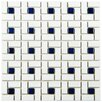 "EliteTile Retro 12.5"" x 12.5"" Porcelain Mosaic Tile in White and Blue"