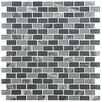 EliteTile Ambit .56'' x 1.12'' Glass and Natural Stone Mosaic Tile in Fortress
