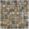 """EliteTile Abbey 0.875"""" x 0.875"""" Glass, Stone and Metal Mosaic Tile in Cologne Glass"""