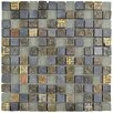 "EliteTile Abbey 0.875"" x 0.875 Natural Stone and Metal Mosaic Tile  in Fauna Rosa"