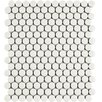 "EliteTile Retro .75"" x .75"" Penny Round Porcelain Mosaic Tile in Glossy White"