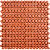 "EliteTile Celestia Penny Round 0.6"" x 0.6"" Porcelain Mosaic Tile in Orange"
