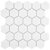 "EliteTile Retro 2"" x 2"" Hex Porcelain Mosaic Tile in Matte White"