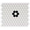 "EliteTile Retro 0.875"" x 0.875"" Hex Porcelain Mosaic Tile in Matte White"