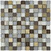 """EliteTile Sierra 11.625"""" x 11.625"""" Glass and Natural Stone Mosaic Tile in Tundra"""