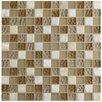 "EliteTile Sierra 11.625"" x 11.625"" Glass and Natural Stone Mosaic Tile in Amber"