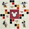 "EliteTile Disney Mickey and Minnie 11.75"" x 11.75"" Glass Mosaic Tile in White"