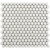 """EliteTile Penny Minerva 12"""" x 12.63"""" Porcelain Mosaic Floor and Wall Tile in White"""