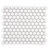 "EliteTile Retro 0.875"" x 0.875"" Hex Porcelain Mosaic Tile in Glossy White"