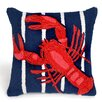 Liora Manne Frontporch Lobster on Stripes Throw Pillow