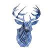 Cardboard Safari Bucky Deer Bust Plaid Wall Décor