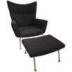 Pangea Home Sector Arm Chair and Ottoman Set