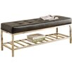 Varick Gallery Alphabet City Leather and Metal Entryway Bench