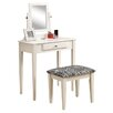 Monarch Specialties Inc. Vanity Set with Mirror & Zebra Print Stool