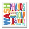 Stupell Industries Wash with Soap and Water Rainbow Typography Bathroom Wall Plaque
