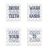Stupell Industries Chevron Bathroom Rules Typography 4 pc Bathroom Wall Plaque Set