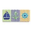 Stupell Industries The Kids Room 3 Piece Sail Boat, Anchor, Captains Wheel with Chevron Trio Wall Plaque Set