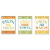 Stupell Industries The Kids Room 3 Piece Brush, Hang and Wash Bath Rules Wall Plaque Set