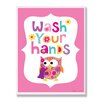 Stupell Industries The Kids Room Pink Wash Your Hands Owl Wall Plaque