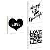 Stupell Industries lulusimonSTUDIO Love Typography 3 pc Wall Plaque Set
