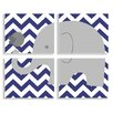 Stupell Industries The Kids Room Elephant & Birdie on Chevron 4 Piece Wall Plaque Set