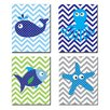 Stupell Industries The Kids Room Sea Creatures with Chevron Quad 4 Piece Wall Plaque Set