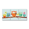 Stupell Industries The Kids Room 3 Piece Owls On Branch Rectangle Part 2 Wall Plaque Set