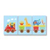 Stupell Industries The Kids Room Animals On Whimsical Train 3 pc Wall Plaque Set