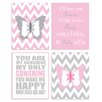 Stupell Industries The Kids Room 4 Piece Zigzag Butterfly Quad Wall Plaque Set