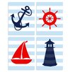Stupell Industries The Kids Room Stripe Nautical Quad 4 Piece Wall Plaque Set