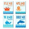 Stupell Industries The Kids Room Sea Creature Bathroom Rules Typography 4 pc Wall Plaque Set