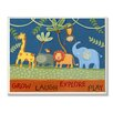 Stupell Industries The Kids Room Grow Laugh Explore Play Jungle Animals Wrapped Canvas Wall Art
