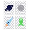 Stupell Industries Outer Space 4 Piece Graphic Art Plaque Set