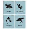 Stupell Industries Basil, Cilantro, Mint, & Parsley Icons 4-Piece Graphic Art Set