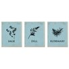 Stupell Industries Sage, Dill, & Rosemary Icons 3-Piece Graphic Art Set