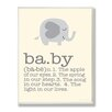 Stupell Industries Gray Elephant Baby Typography Graphic Art Plaque