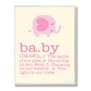 Stupell Industries Pink Elephant Baby Typography Graphic Art Plaque