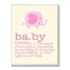 Stupell Industries The Kids Room Pink Elephant Baby Typography by Ellen Crimi-Trent Graphic Art Plaque