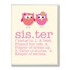 Stupell Industries Owl Sister Typography Graphic Art Plaque