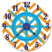 "Stupell Industries 12"" Ship's Wheel Orange Chevron Vanity Clock"