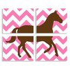 Stupell Industries The Kids Room Brown Horse on Pink Chevron 4 pc by Ashley Calhoun Graphic Art Plaque Set