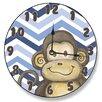 "Stupell Industries 12"" Monkey and Blue Chevron Vanity Clock"