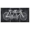 Stupell Industries Chalkboard Look Tandem Bicycle Triptych 3 pc by Susan Newberry Graphic Art Plaque Set