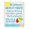 Stupell Industries Personalized Beach House Sand and Umbrella by Janet White Graphic Art Plaque