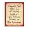 "Stupell Industries Personalized ""Bless the Food Before Us"" by Janet White Textual Art Plaque"