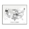 Stupell Industries DIY Coloring Wall Plaque Quilted USA Map Graphic Art