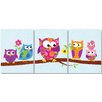 Stupell Industries The Kids Room Owls on Branch Triptych 3 pc Wall Plaque Set