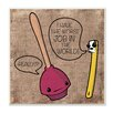 Stupell Industries 'Toothbrush and Plunger' Textual Art Canvas