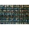 Parvez Taj Crowded Blue-Wall Art on Natural Pine Wood